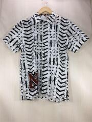 シャツ/半袖/S/コットン/ホワイト/総柄/S/Sシャツ/タグ付き