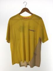 Tシャツ/M/コットン/イエロー/プリント/ボディ切り替え/バッグプリントT/タグ付き