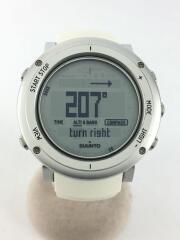 スント/クォーツ腕時計/デジタル/ラバー/SLV/WHT/CORE/シルバー