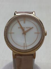 マイケルコース/クォーツ腕時計/アナログ/レザー/ホワイト/ピンク/MK-2663
