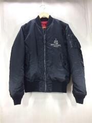 ジャケット/フライト/M/ナイロン/ブラックxレッド/刺繍/フルジップ/袖線状汚れあり