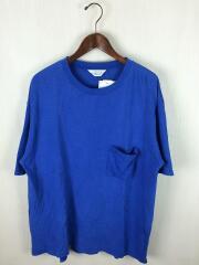 クルーネック/Tシャツ/3/コットン/BLU/無地