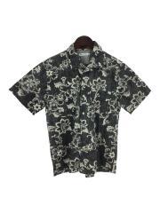 オープンカラーシャツ/半袖シャツ/S/コットン/GRY/総柄