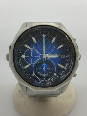 クォーツ腕時計/アナログ/ステンレス/BLU/クロノグラフ