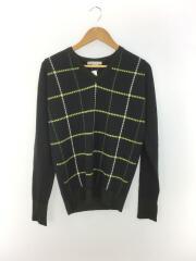 セーター(薄手)/S/ウール/GRN/千鳥格子/タグ付き