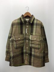 ダブルポケットチェックシャツ/L/コットン/ベージュ/チェック/331-328565