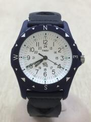 クォーツ腕時計/レザー/ネイビー/287-000196-017/SAFARI/ロンハーマン/TIMEX