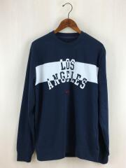 ゲス/長袖Tシャツ/ロングスリーブカットソー/刺繍/Los Angels/M/コットン/ネイビー/