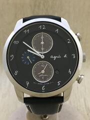 アニエスベー/ソーラー腕時計/アナログ/レザー/ネイビー