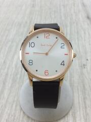 クォーツ腕時計/アナログ/レザー/WHT/BRW/ブラウン/茶色