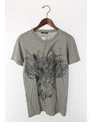 Tシャツ/34/コットン/GRY/ウルフプリント