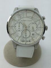 クォーツ腕時計/アナログ/レザー/WHT/WHT/NNC42