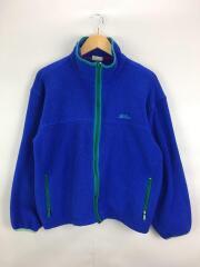 フリースジャケット/--/ポリエステル/ブルー/袖口、裾リブ部分色褪せ有