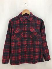 70s/開襟/オープンカラー/ネルシャツ/M/ウール/レッド/チェック