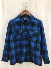 70s/開襟/オープンカラー/ネルシャツ/M/ウール/ブルー/チェック