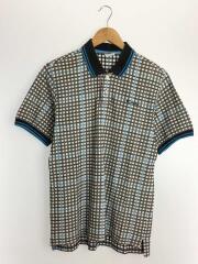 チェック半袖ポロシャツ/M/コットン/襟使用感有/PM2529
