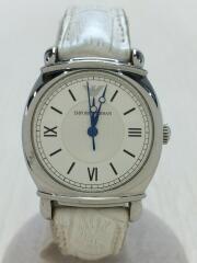 クォーツ腕時計/アナログ/レザー/SLV/WHT/AR-0288/ベルト使用感/箱有
