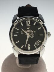 オロビアンコ/クォーツ腕時計/アナログ/レザー/BLK/BLK/ベルト劣化/小傷
