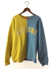 18AW/split Crewneck/L/コットン/マルチカラー/アーチロゴ/袖、裾毛玉有