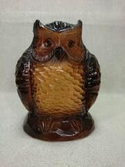 木彫り/フクロウ/目の横キズ・頭部ひび割れ有/インテリア雑貨
