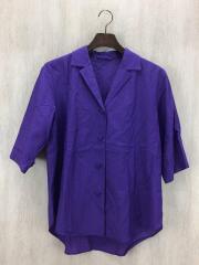 半袖シャツ/FREE/--/パープル/1616-242-0301/キュプラコットンオープンカラーシャツ///無地