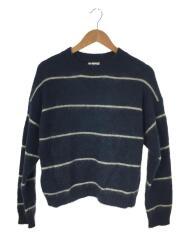 セーター(薄手)/XS/ナイロン/ブルー/ボーダー/A60035/18AW/RHIRA MOHAIR