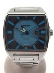 ワイアード/ソーラー腕時計/アナログ/ステンレス/ブルー/シルバー/V145-0CK0/ハイブリッド2