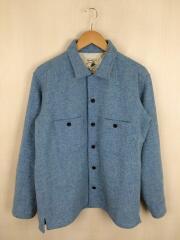 オープンカラー/シャツジャケット長袖シャツ/38/ウール/ツイード/BLU