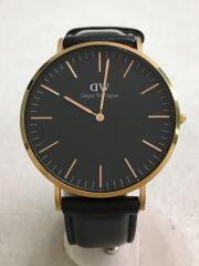クォーツ腕時計/アナログ/レザー/BLK/BLK/B40R15