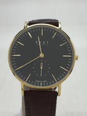 クォーツ腕時計/アナログ/レザー/BLK/BRW/CS-36