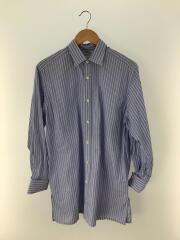 ダブルカフワイドシャツ/FREE/コットン/BLU/ストライプ