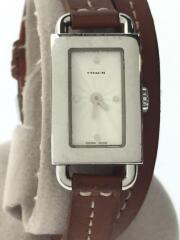 クォーツ腕時計/0219/アナログ/レザー/ホワイト/ブラウン