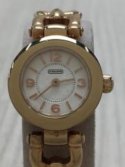 クォーツ腕時計/アナログ/レザー/WHT/WHT