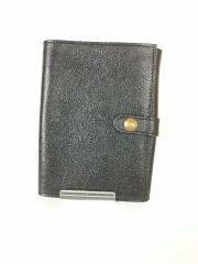 2つ折り財布/レザー/BLK/無地/ユニセックス