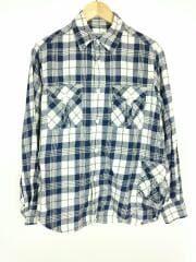 Wポケットネルシャツ/S/コットン/BLU/チェック/ブルー