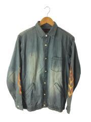 袖刺繍/シャツジャケット/5106927/ジャケット/M/デニム/IDG