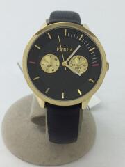 4251102501-49421/クォーツ腕時計/アナログ/レザー/BLK/BLK