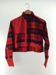 YN-B12-047/ショート丈/長袖シャツ/1/コットン/RED/チェック