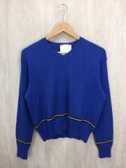 セーター(薄手)/M/コットン/BLU/ニット