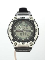 AQW-100/クォーツ腕時計/デジアナ/ラバー/BLK