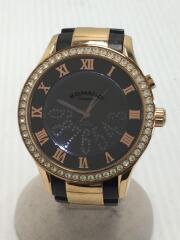 クォーツ腕時計/RM019-0214/アナログ/ステンレス/BLK/GLD