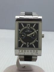 クォーツ腕時計/T2046TB/アナログ/ステンレス/BLK/SLV
