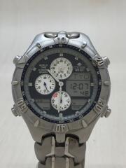 クォーツ腕時計/デジアナ/ステンレス/GRN/SLV
