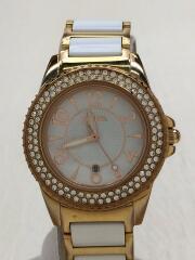 ラインストーン/クォーツ腕時計/アナログ/ホワイト/ゴールド/WF6B067BD
