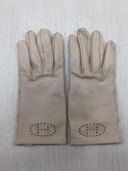 手袋/羊革/ベージュ/無地/Hロゴ