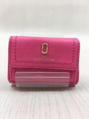 3つ折り財布/レザー/ピンク