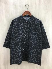7分袖シャツ/--/コットン/BLK/総柄