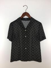 半袖シャツ/40/ポリエステル/ブラック/黒/ドット