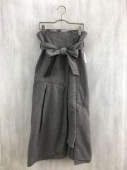 ロングスカート/1/ポリエステル/BRW/209544010/ラップタックアシンメトリーフレアースカート