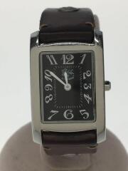 クォーツ腕時計/アナログ/レザー/ブラック/ブラウン
